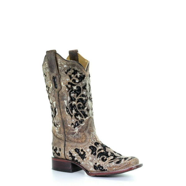 Corral Ladies Brown Inlay, Flowered Embroidery & Studs Boots A3648