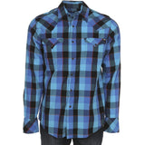 Tin Haul Men's Blue Plaid Snap Button Down Shirt 10-001-0062-0754
