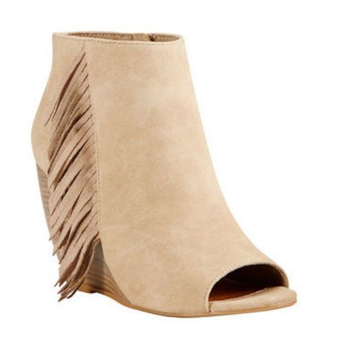 Ariat Ladies Unbridled Jaycee Taupe Suede Fringe Bootie 10018788 - Wild West Boot Store