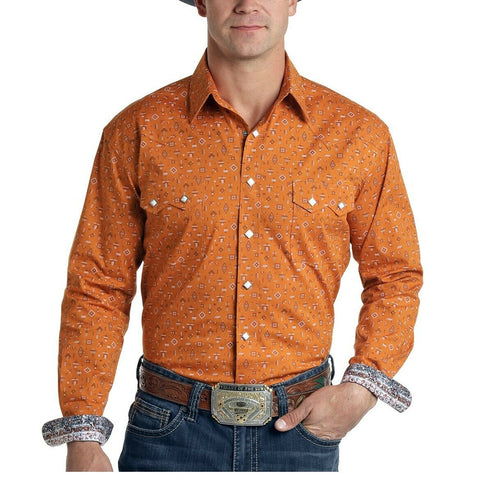 Panhandle Men's Orange Gerhard Mini Aztec Print Shirt R0S6911