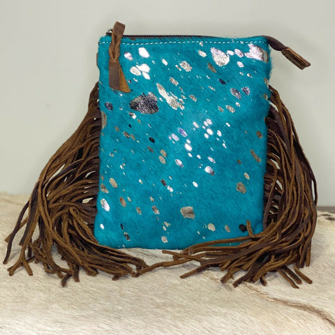 American Darling Turquoise Cowhide with Fringe Crossbody ADBGS153TRQ