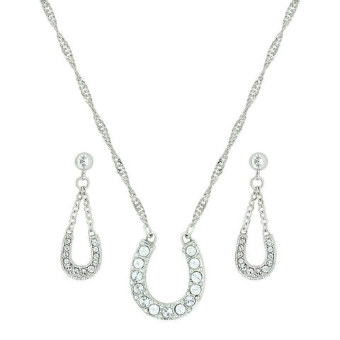 Montana Silversmiths Crystal Clear Lucky Horseshoe Jewelry Set JS808