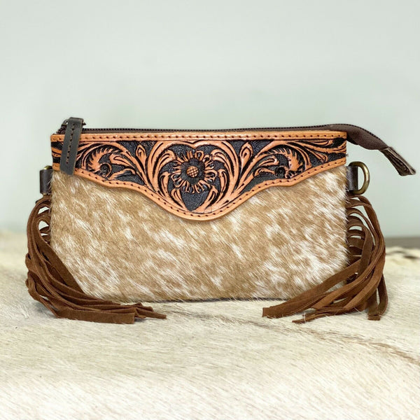 American Darling Brown and White Small Cowhide Crossbody ADBG404BRW