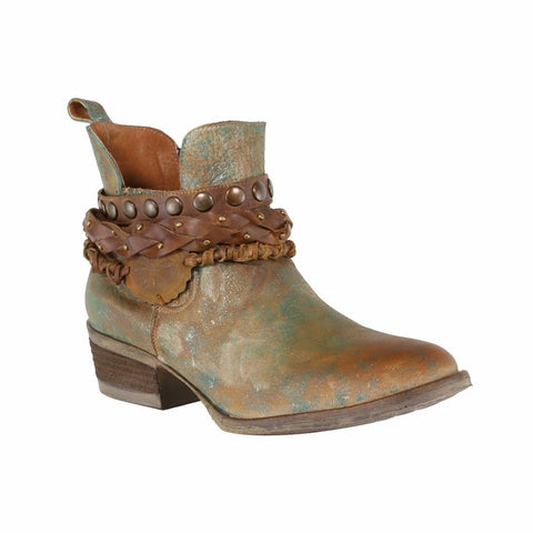 Circle G by Corral Ladies Green Harness & Stud Shortie Boots Q5002 - Wild West Boot Store
