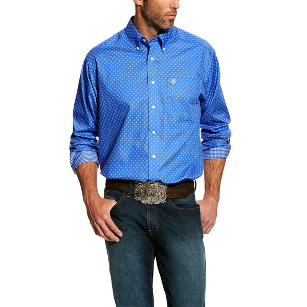 Ariat® Men's Wrinkle Free Landgringen Blue Print Button Shirt 10025857