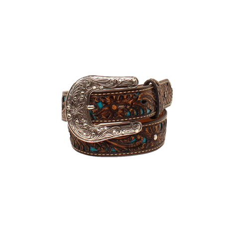 Ariat® Childrens Brown & Turquoise With Floral Overlay Belt A1304027