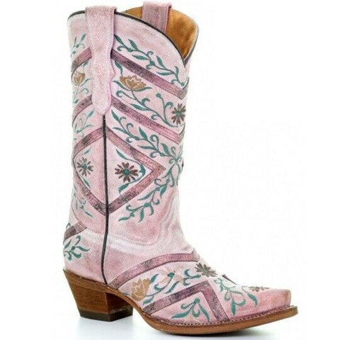 Corral Children's Rose Floral Embroidery Boots T0026