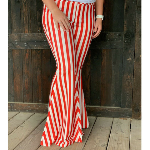 Turquoise Haven Ladies Red Striped Wide Bell Bottom Pants 8003-RED