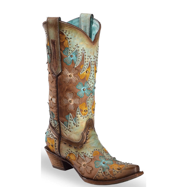 Corral Ladies Mint & Maple Inlay Floral Embroidery & Studs Boots C3379 - Wild West Boot Store