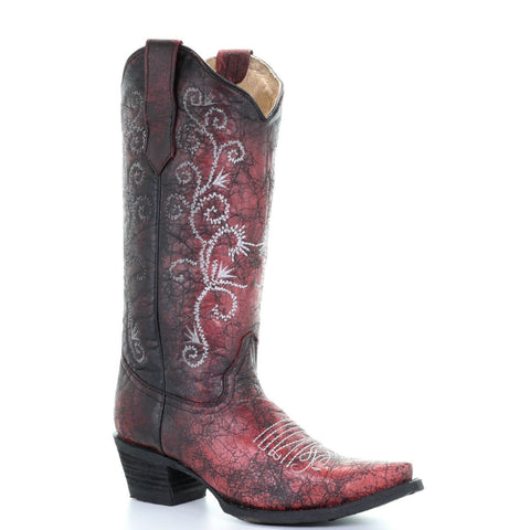 Circle G By Corral Ladies Black Filigree & Red Embroidered Boots L5431 - Wild West Boot Store