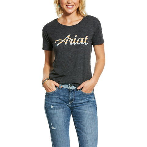 Ariat Ladies Charcoal Heat Navajo Fill Short Sleeve Shirts 10031738