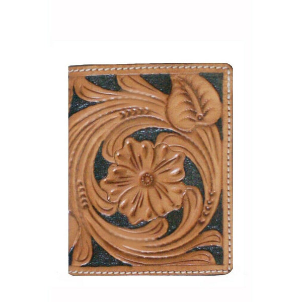 Twisted X Mens Floral tooled Tan & Black Tri-fold Wallet XH-108T