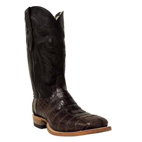 Cowtown Men's Brown Square Toe Caiman Western Boots Q8878 - Wild West Boot Store