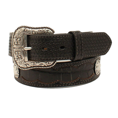 Ariat Men's Basket Weave tab With Crocodile Inlay Belt A1035401