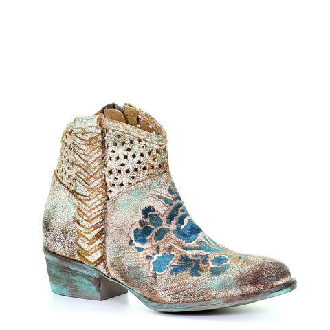 Circle G Ladies Camel Turquoise Floral Embroidery Woven Booties Q0127