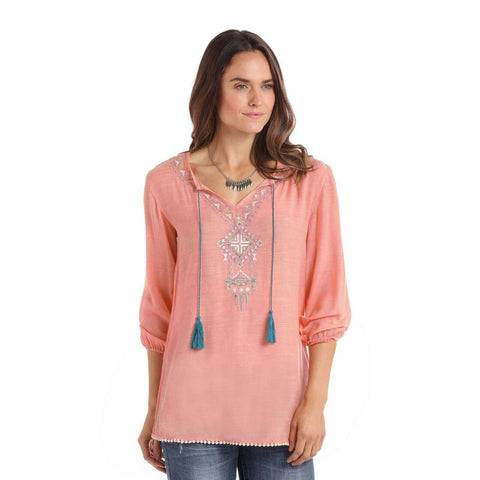 Panhandle Ladies 3/4 Sleeve Pink Peasant Shirts 23-1704-96