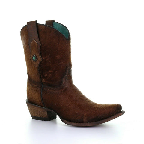 Corral Ladies Cowhide and Concho Brown Ankle Boots C3586