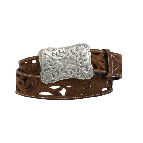 Angel Ranch by 3D Ladies Filigree Cutout Brown Leather Belt DA2072