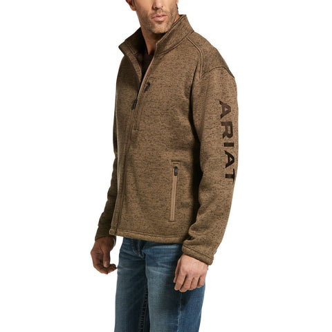 Ariat® Men's Caldwell Logo Fossil Brown Zip-Up Sweater Jacket 10033022