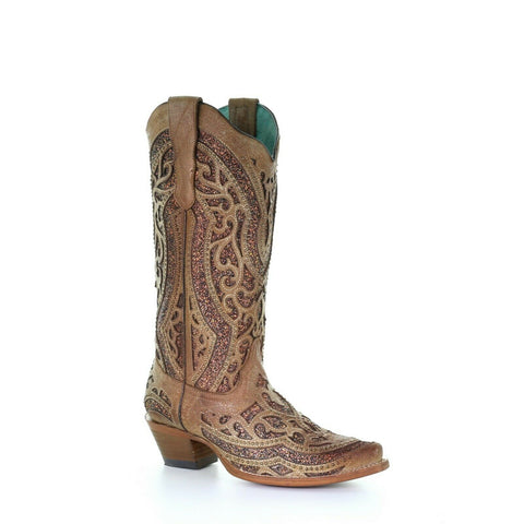 Corral Ladies Golden Glitter, Studs & Overlay Boots E1526