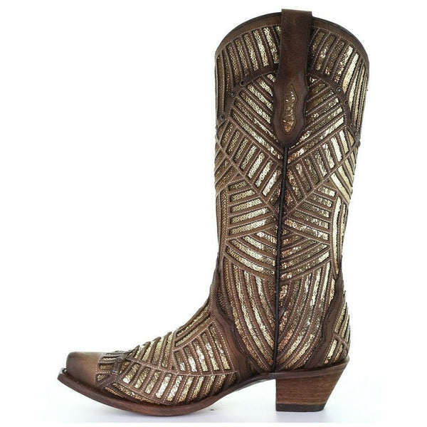 Corral Ladies Gold Bright Inlay Leather Snip Toe Brown Boots C3506