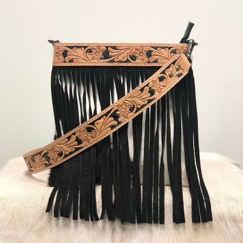 American Darling Black and White Cowhide Fringe Crossbody ADBGS172BKW