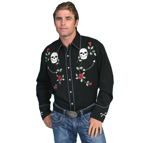 Scully Men's Black Skull Rose Embroidery Shirts P-771-BLK