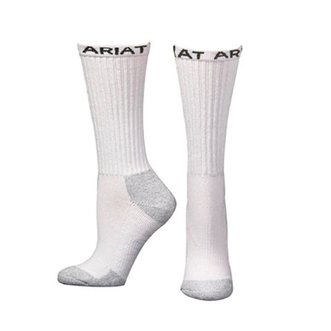 Ariat Men's White 3- Pack Mid- Calf Boot Socks A2503605