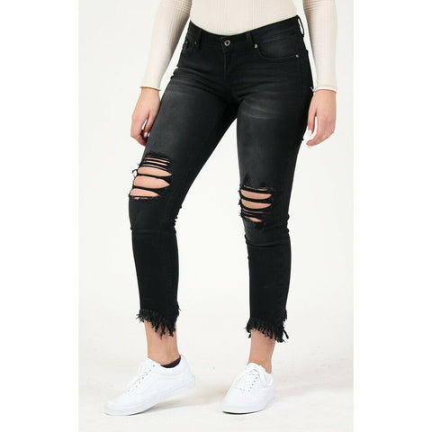 Grace in L.A. Ladies Mid Rise Distressed Skinny Jeans EN9400