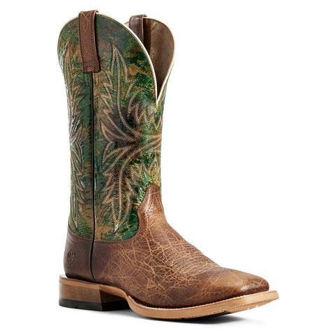 Ariat® Men's Cowhand Toffee Brown Moss Green Square Toe Boots 10029752