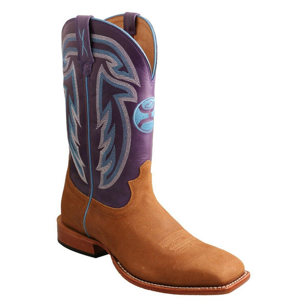 Twisted X Men's Hooey Tan and Purple Square Toe Boots MHY0030