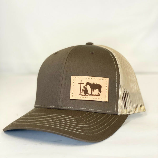 Dally Up Praying Cowboy Brown and Tan Snapback Cap DALLY-314