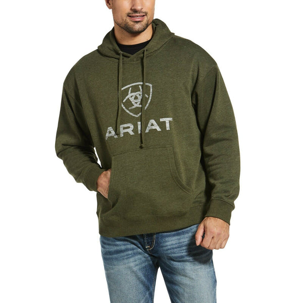 Ariat® Men's Rough Grain Brushed Fleece Logo Olive Hoodie 10033133