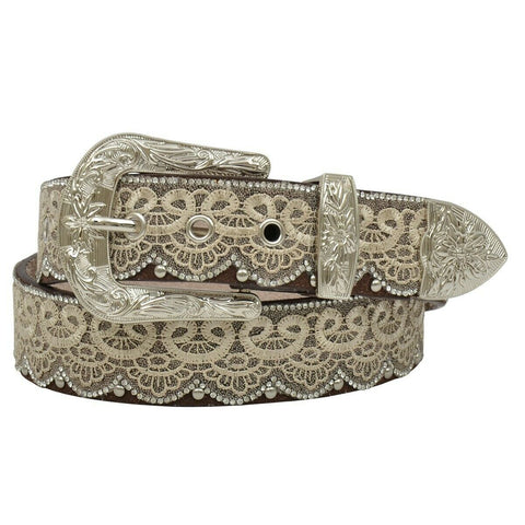 Angel Ranch by 3D Ladies Lacy Brown & Crystal Leather Belt DA3650