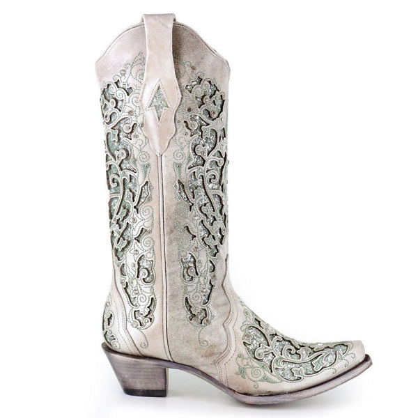 Corral Ladies White/Green Glitter Inlay/Crystals Wedding Boot A3321 - Wild West Boot Store