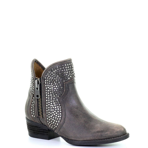 Circle G By Corral Ladies Black Studded Shortie Ankle Boots Q0124