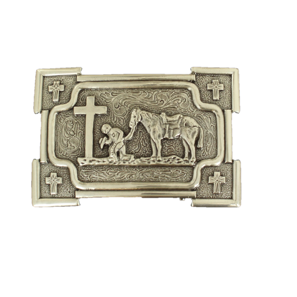 Nocona Mens Praying Cowboy With Horse Rectangular Belt Buckle 37405