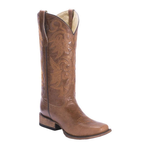 FM 1101 Ladies Asia Tan Leather Square Toe Boots FM0015B