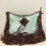 American Darling Blue Cowhide Fringe Crossbody Purse ADBGZ187TRQ