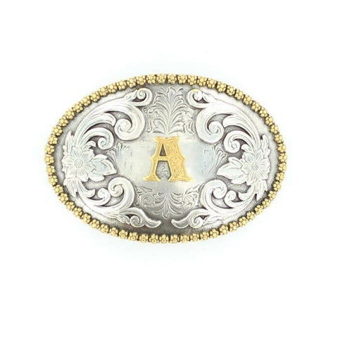 Nocona Antique Scroll & Initial Oval Belt Buckle 37072
