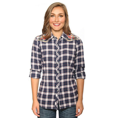 Grace in L.A. Navy Plaid Floral Embroidery Flannel Shirt S-2175