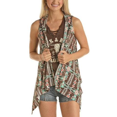 Rock & Roll Cowgirl Ladies Southwest Cascade Front Vest 49V5173