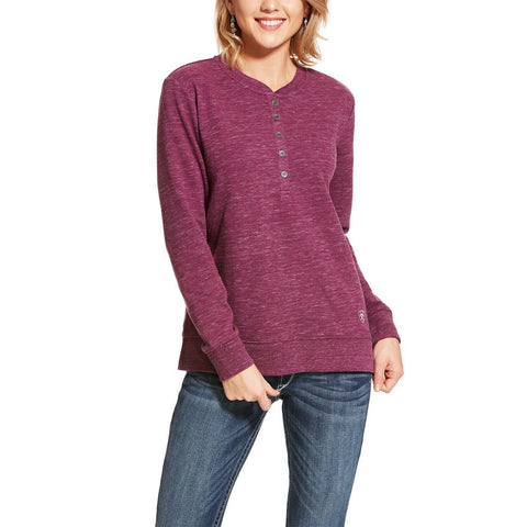 Ariat® Ladies Henley Grape Wine Purple Fleece Sweatshirt 10028747