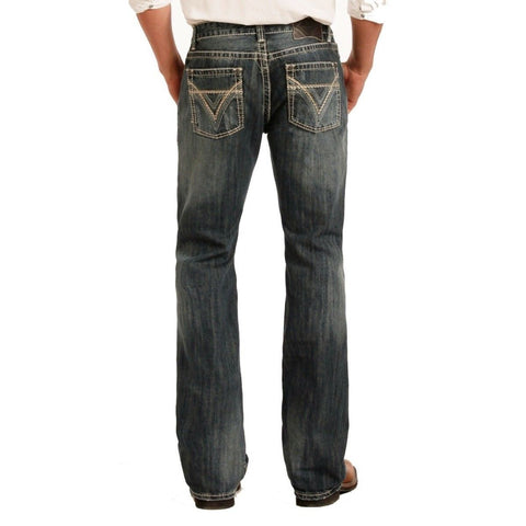 Rock & Roll Denim Men's Pistol Boot Cut Medium Wash Jeans M0P2602