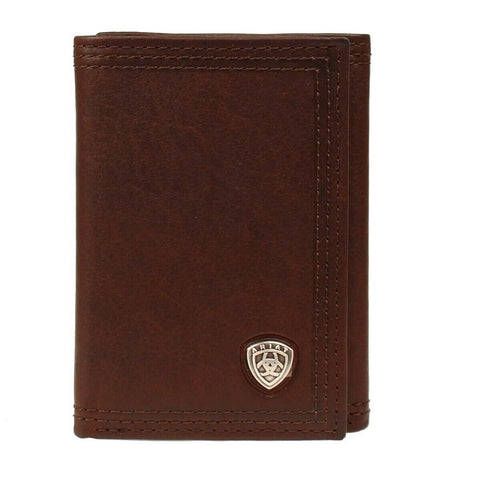 Ariat Dark Copper Tri-Fold Wallet with Small Shield Logo A35122283