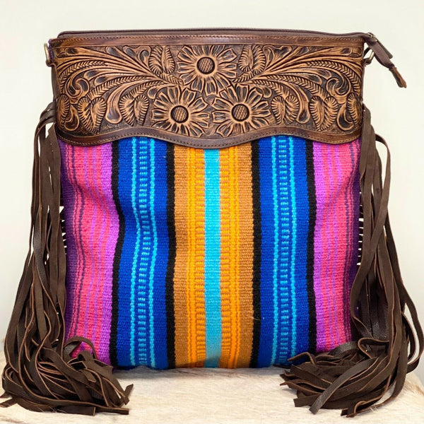 American Darling Multicolor Stripe Saddle Blanket Crossbody ADBGZ106R