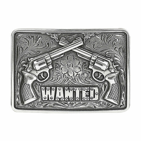 Nocona Men's Silver Wanted Pistols Belt Buckle 37656
