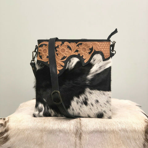 American Darling Black and White Cowhide Crossbody ADBG205BKW