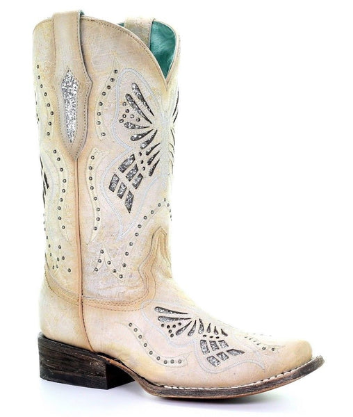 Corral Ladies White Glitter Butterfly Inlay Square Toe Boots C3473