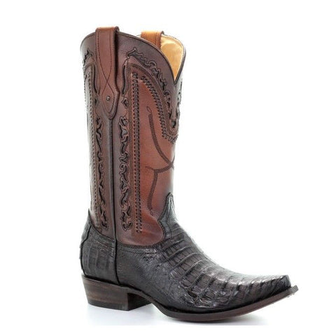 Corral Men's Genuine Caiman Dark Brown Snip Toe Boots C3257